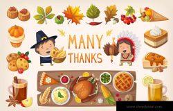 卡通版本感恩节美食矢量设计素材 Thanksgiving Dinner Table