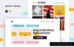 现代时尚风格创意作品集网站设计模板(PSD+Sketch) Hi Creative Template (PSD + Sketch)