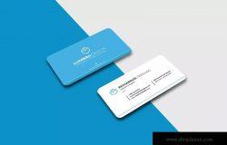 蓝白配色风格圆角高端名片设计模板 Business Card