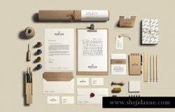 艺术&工艺品品牌VI文具样机模板 Art & Craft Stationery Branding Mockup