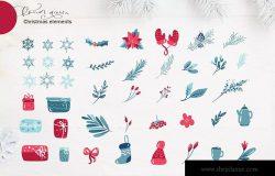 圣诞节主题元素水彩手绘设计素材 Christmas floral holiday elements