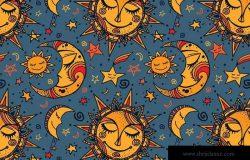 可爱星空童话图案无缝素材 Nighty Night Seamless Pattern