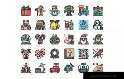 30枚圣诞派对主题彩色图标合集 30 Christmas Party Icon Set