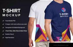 男士T恤设计模特上身正反面效果图样机模板v3 T-shirt Mockup
