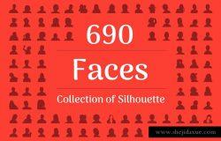 690枚形形色色人物剪影图标 690 Face Silhouette