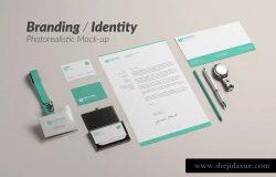企业品牌办公文具等距样机模板 Branding / Identity Mock-up