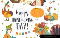 感恩节主题设计矢量手绘设计素材 Funny turkeys with Thanksgiving theme on white bac