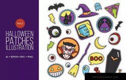 可爱风格万圣节贴纸图案矢量图形素材v2 Cute Happy Halloween Patches