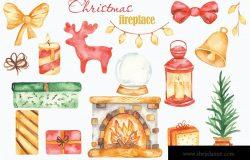 水彩手绘圣诞壁炉剪贴画素材