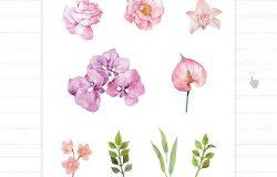 水彩花卉混合装饰婚礼请柬设计素材