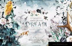 """高品质梦幻水彩矢量插画素材大合集[1.88GB] Fantasy illustrations """"Once in the dream"""""""