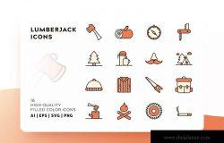 伐木工主题填充图标矢量图标 LUMBERJACK FILLED COLOR