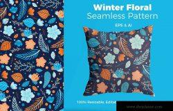 冬天元素手绘图案纹样背景素材 Winter Pattern
