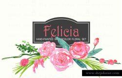费利西亚艺术水彩花卉剪贴画 Felicia – Watercolor Clip Art