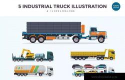 5个工业拖车/重型卡车矢量图形素材v2 5 Industrial Trailer Truck Vector Illustration