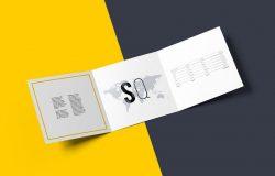 方形三折页册子展示模型(mockups)PSD下载