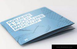 四折页方形折叠宣传册&传单封面设计样机模板 Folded Square 4-Fold Brochure Mockup