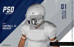 美式足球球员上半身展示样机 Football III Mockup Template [psd]