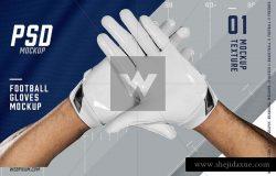 高品质的足球手套展示样机 Football Gloves Mockup Template [psd]