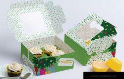 四只装纸杯蛋糕礼盒包装外观设计样机 Four Cupcake Box Mockup