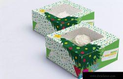 四个装纸杯蛋糕甜品礼盒包装设计样机03 Four Cupcake Box Mockup