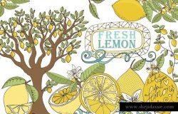 新鲜夏天柠檬插图合集 Lemons, Summer Fruit Illustrations