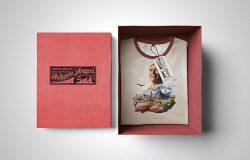 带盒子的精品T恤展示模型(Mockup)