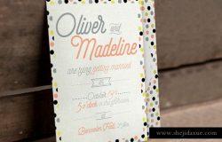 简约风格别致字体排版婚礼邀请函设计模板 3 Fun Pattern Wedding Suite