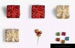 圣诞节礼品包装盒设计样机模板02 Christmas Gift Boxes Isolate
