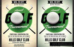 现代高尔夫比赛传单模板 Golf Tournament Flyer Template