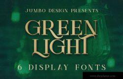 复古风格品牌VI设计英文衬线字体 Green Light – 6 Vintage Style Fonts