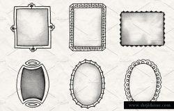复古手绘装饰框架图形笔刷合集1 Hand Drawn Frames Brush Pack 1