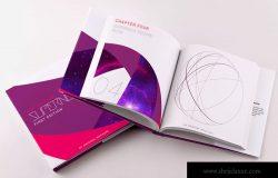 精装小方格图书封面&内页印刷效果图PSD样机01 Hardcover Small Square Book PSD Mockup