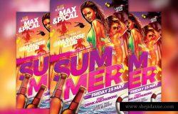 热辣火爆夏日海滩派对活动传单模板 Hot Beach Summer Party Flyer