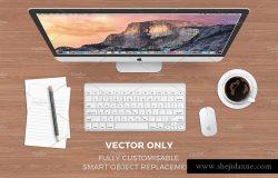 3种场景苹果一体机 iMac 工作场景样机模板 iMac Mock-up
