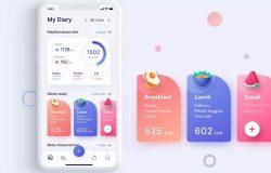 饮食计划&健身运动App应用程序UI套件