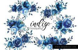 靛蓝水彩花卉剪贴画