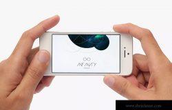 手持iPhone手机屏幕演示免费样机2 iPhone Mockup