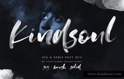 手绘水彩SVG字体&平滑衬线英文字体 KindSoul SVG Script & Serif Font Duo