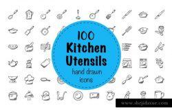 100枚涂鸦风格厨房用具图标 100 Doodles of Kitchen Utensils