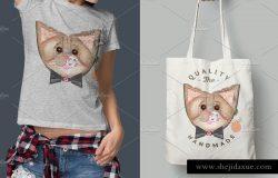 布艺拼接缝制风格猫动物插画