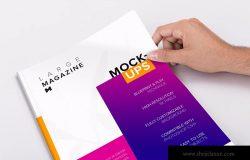 大型杂志封面版式设计印刷效果样机