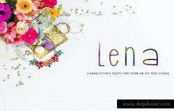 可爱英文手写字体下载 Lena – Handlettered Font