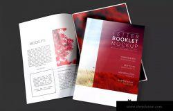 企业画册产品手册封面&内页设计预览样机 Letter Booklet Cover & Spread Mockup