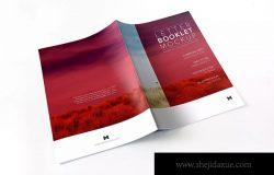 信纸小册子封面封面印刷效果预览样机01 Letter Booklet Spreads Covers Mockup