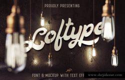 "粗体书法英文字体 ""Loftype"" typeface & vintage mockup"