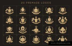 奢侈花边纹章徽标设计组成套件 Heraldic Crest Logos elements set