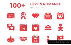 100+浪漫爱情元素矢量图标 100+ Love and Romance Vector Icons