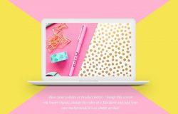 女性主题苹果笔记本样机 MacBook™ Mockup with a Starburst