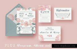 水彩植物花卉装饰结婚邀请函设计模板 Watercolour Wedding Suite